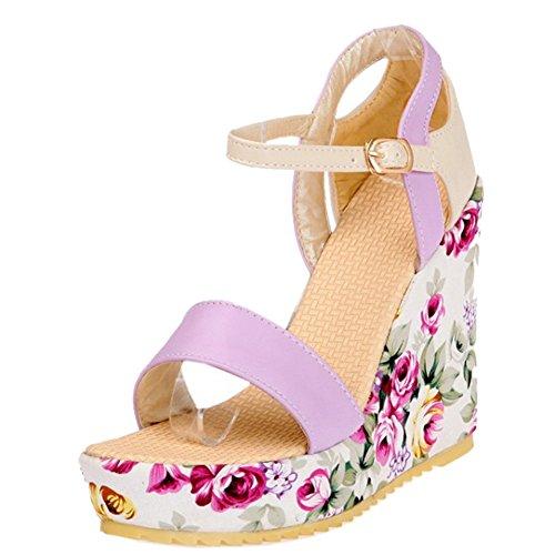 56361ce32 TAOFFEN Mujer Moda Tacon De Cuna Sandalias Tacon Alto Plataforma Al Tobillo  Floral Zapatos Purpura