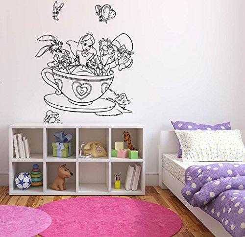 Wall Sticker Decals Alice In Wonderland Cartoon Rabbit Tea Time Cheshire Cat Girl Nursery Bedroom -