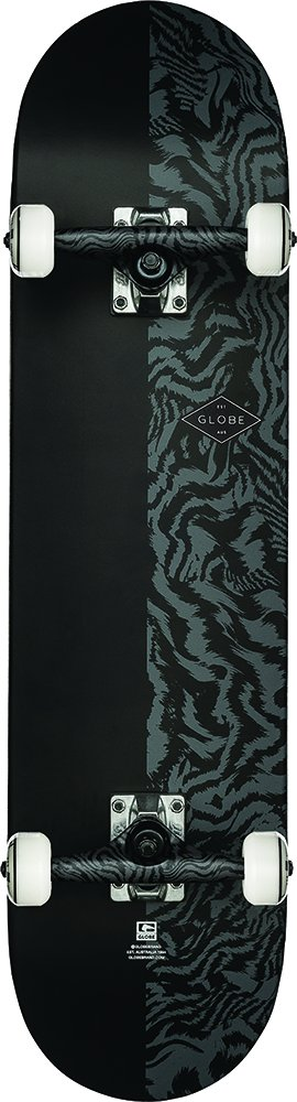 GLOBE HG Pushover Complete Skateboard, Tailspin/Black, 8.0Fu by GLOBE Skateboards