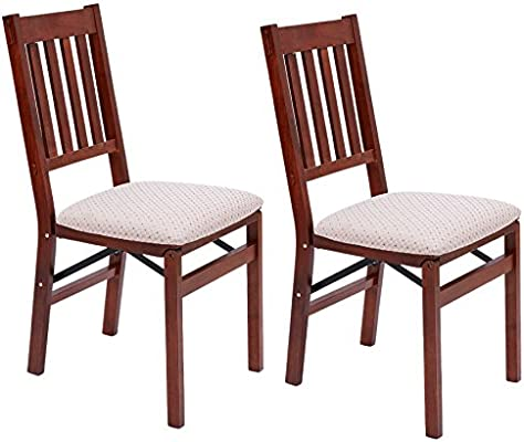 Fine Arts And Crafts Folding Dining Chairs 2X Solid Hardwood Frame Cushioned Seat Pad Mahogany Gmtry Best Dining Table And Chair Ideas Images Gmtryco