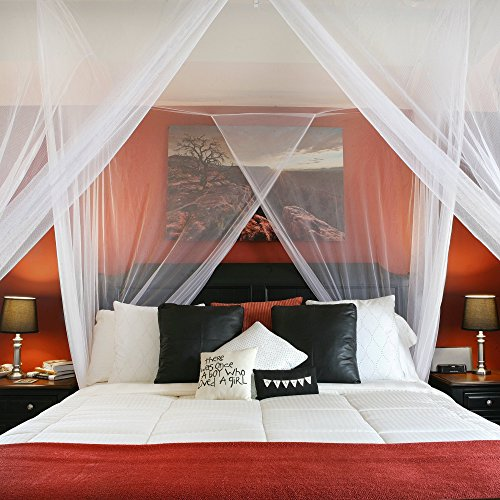 Bed Canopy Curtains | Super Soft White Netting for Girls Beds | Four Corner Post Loft Bed Decor | Easy to Hang & Adjustable Center Height | Fits All Bed Sizes | By Posh Earth