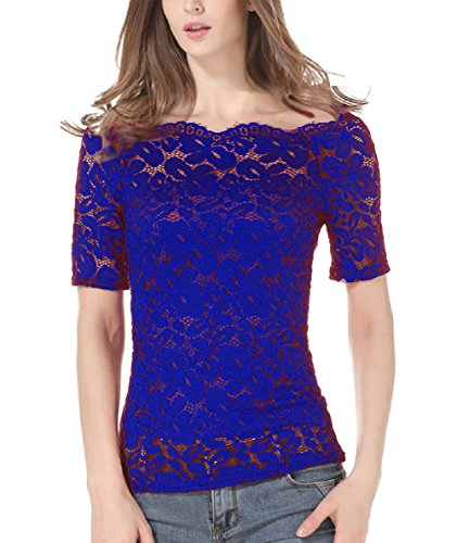 af2a7e5b5fb6d Tunique Denudee Fille Col Chemisier Bleu Landove Haut Slim Pull Manche  Blouse Lace Top Sexy Mode ...