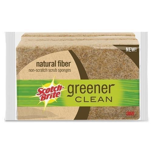 (Scotch-Brite Greener Clean Natural Fiber Non-Scratch Scrub Sponge, Made from 100% Plant-Based Fibers, 3-Sponges/Pk, 8-Packs (24 Sponges Total))