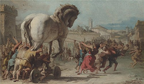 Oil Painting 'Giovanni Domenico Tiepolo The Procession Of The Trojan Horse Into Troy' 8 x 14 inch / 20 x 35 cm , on High Definition HD canvas prints is - Sunglasses Price Funk