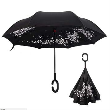 LZBDKM Paraguas Flores de Cerezo Plegables Paraguas invertido de ...
