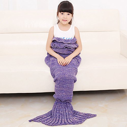 KALRI Warm and Soft Kids Knitted Mermaid Blanke...