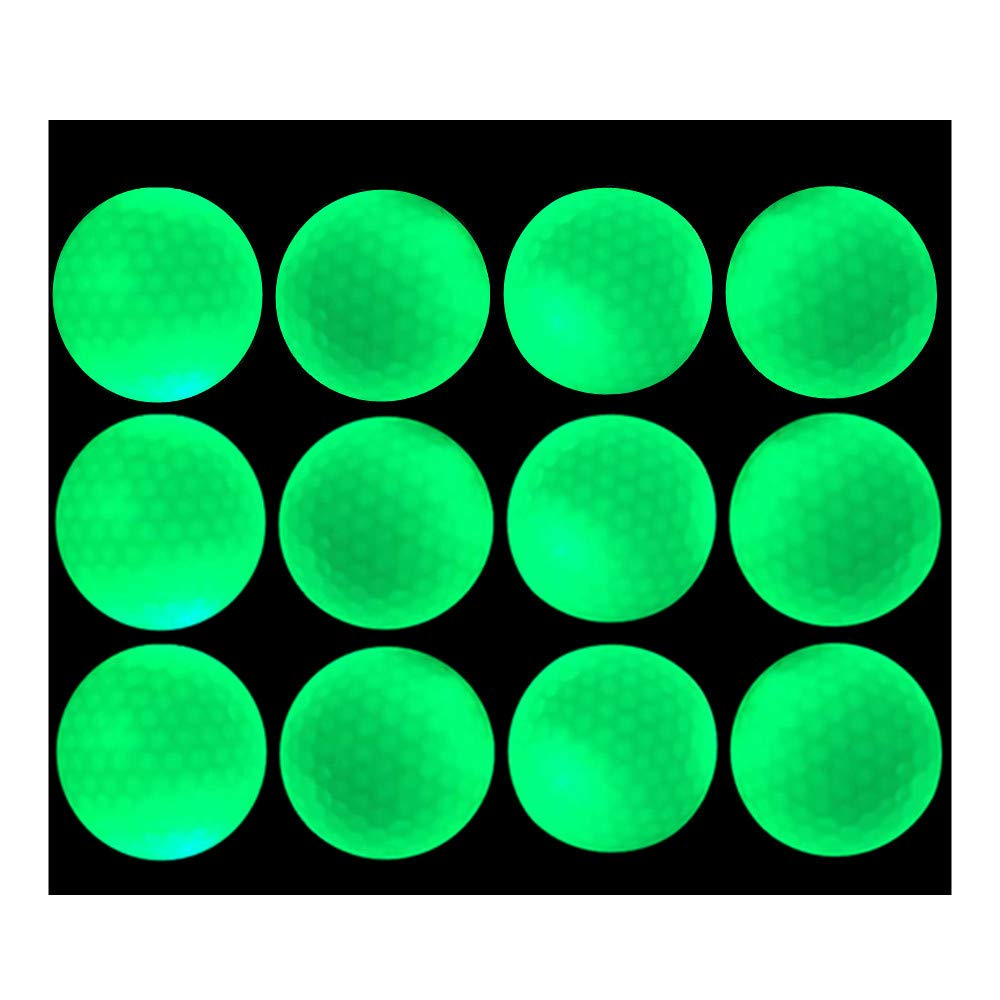 Glow Golf Balls - Luminous Night Golf Balls, Reusable and Glow in The Dark (12 Count) by Bikego