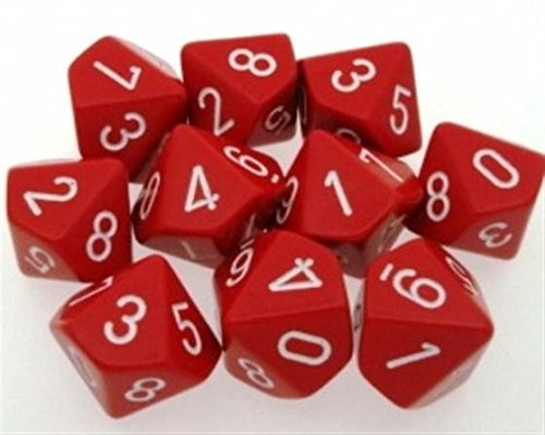 Chessex Dice Sets: Opaque Red with White - Ten Sided Die d10 Set (10) (Dice 10 Side)