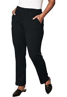 375192d3ecc6 Roamans Women s Plus Size Petite Soft Knit Straight-Leg Pants at ...