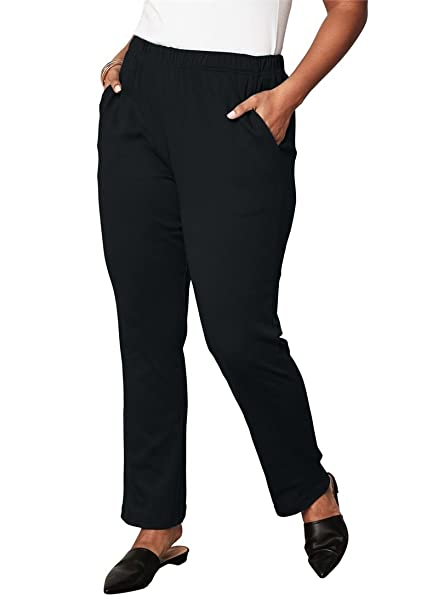 Roamans Women s Plus Size Petite Soft Knit Straight-Leg Pants - Black 2923a22ed24