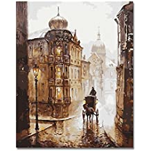 Rihe DIY Oil Painting Paint by Numbers Kits for Adults Kids Beginner -Carriage Love 16 x 20inch with Brushes and Acrylic Pigment (Without Frame)