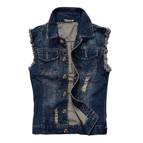 Zicac Men's Top Design Denim Vest Waistcoat with Broken Holes (XL/Asia Tag 5XL, Blue)
