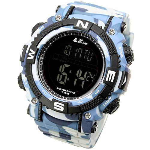 [LAD WEATHER] Solar digital watch Military Camouflage printed 100 meter water resistant by LAD WEATHER