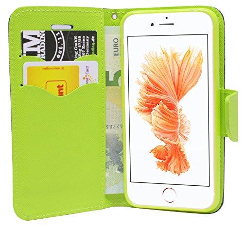 Elegante Buch-Tasche für das Iphone 7 PLUS in Blau-Grün Leder Optik Wallet Book-Style Bumper Flip-Case@ Energmix