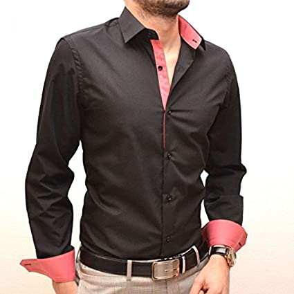 IRMAO Camisa para Hombre Negra y Rosa Slim Fit Rosa Rose: Amazon.es: Ropa y accesorios