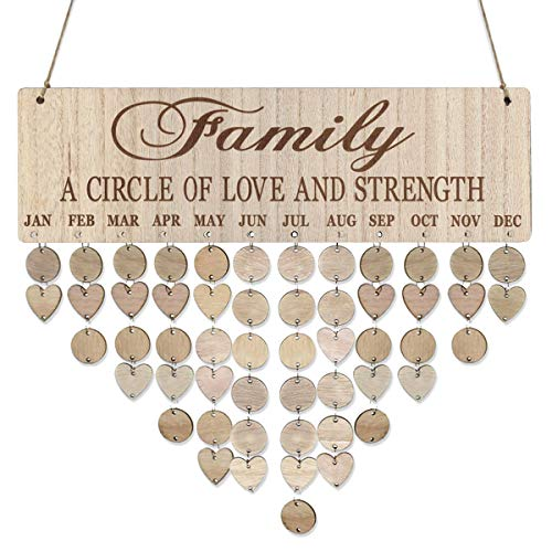 LIOOBO Wooden Birthday Reminder Calendar Plaque Sign Board Wall Hanging Family Decor Plaque]()