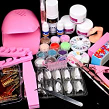 25 in 1 Combo Set Professional DIY Nail Art Decorations Kit Brush Buffer Acrylic Glitter Powder Cuticle Revitalizer Oil Pen Tool Nail Tips Rhinestones Pearls Reusable Form Glue Acrylic Set #27 with Mini Portable Fan Blower Nail Dryer by RY