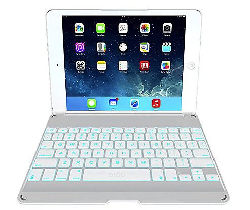 ZAGG Cover with Backlit Bluetooth Keyboard for Apple iPad mini 1 / mini 2 / iPad Mini 3- White (Design Contour Folio)