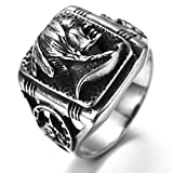 oster cable - Stainless Steel Ring for Men, Indian Ring Gothic Black Band Size 11 Epinki