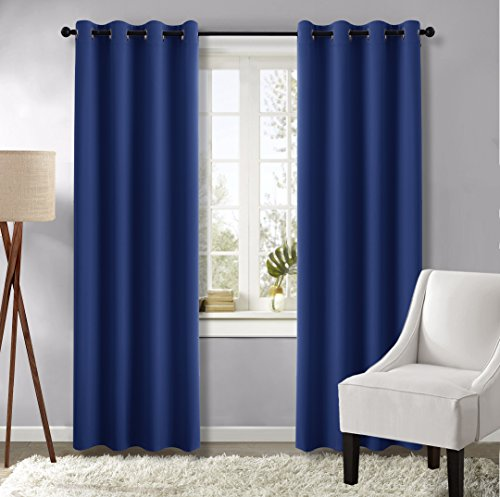 Blackout Curtain Panels for Living Room - (Navy Blue Color) 52 Wide by 84 long, 2 Pieces, Window Treatment Energy Saving Thermal Insulated Grommet Blackout Drapes by NICETOWN (Toile Shade Blue)