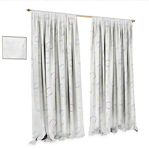 WinfreyDecor Colorful Customized Curtains Crayon Drawing Style Pattern with Different Fruits and Green Leaves Healthy Eating Room Darkening Wide Curtains W108 x L84 Multicolor.jpg -