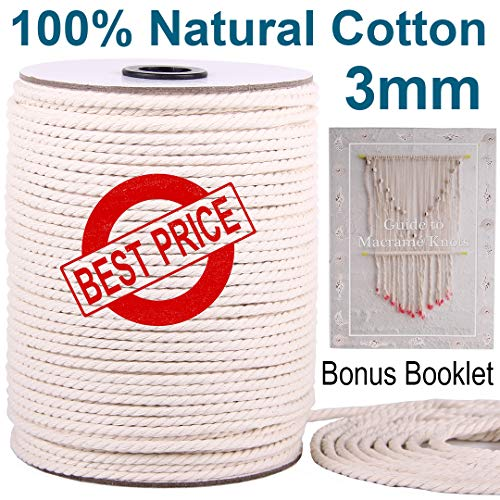 XKDOUS Macrame Cord 3mm x 220Yards | 100% Natural Macrame Rope | 3 Strand Twisted Cotton Cord for Wall Hanging, Plant Hangers, Crafts, Knitting, Decorative Projects | Soft Undyed Cotton Rope ()