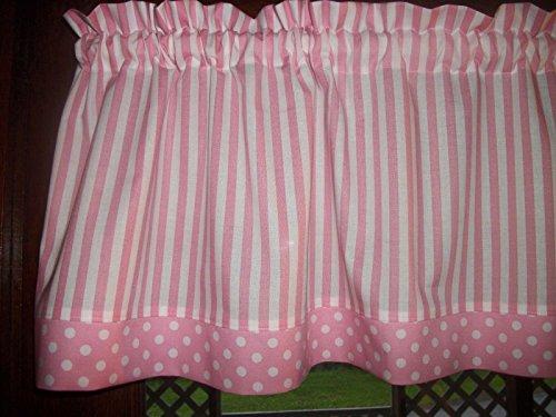 Cheap Pink White Stripe Polka Dot baby girl nursery kitchen bedroom waverly inspiration fabric topper curtain Valance
