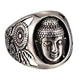 Mens Silver Tone Carved Buddha Head Ring 316L Stainless Steel Ring