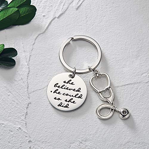 Ldurian Nurse Keychain for Women, RN Graduation Gifts for School Nursing Students, Inspirational Key Ring, Nurses Week…