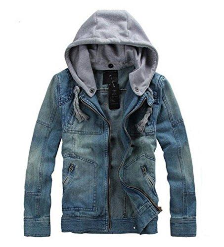 Jeans Hoodies - Men's Slim Motorcycle Denim Jackets With Hoodie M (Tag)