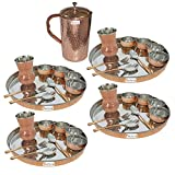 Prisha India Craft ® Set of 4 Dinnerware Traditional Stainless Steel Copper Dinner Set of Thali Plate, Bowls, Glass and Spoons, Dia 13'' With 1 Pure Copper Hammered Pitcher Jug - Christmas Gift