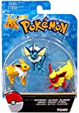 Official Packaged Pokemon Eevee Eeveelutions 3 Pcs. Exclusive Figure Set Includes: Vaporeon , Jolteon & Flareon by Hot Topic