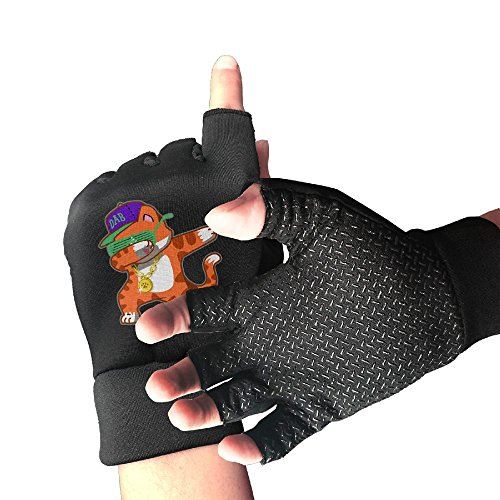 Dabbing Cat Funny Dab Hip Hop Dabbing Kitten Unisex Half Finger Gloves by EURT FLOGH