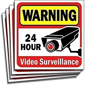 """Video Security Surveillance Sticker Decals Sign for Home/Business (4 Piece Set) Self Adhesive Vinyl Stickers for CCTV, DVR, Video Camera System-Outdoor/Indoor 6"""" x 6"""" for Window Door Wall …"""