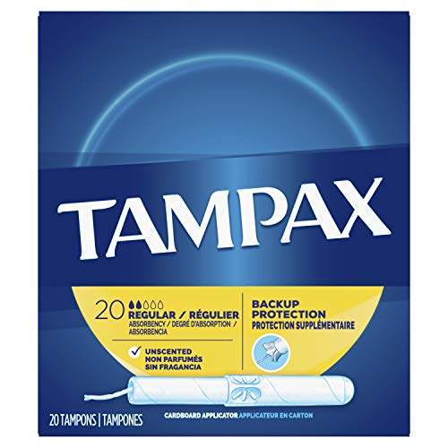 Tampax Cardboard Applicator Tampons, Regular Absorbency, 20 Count - Pack of 4 (80 Total Count)