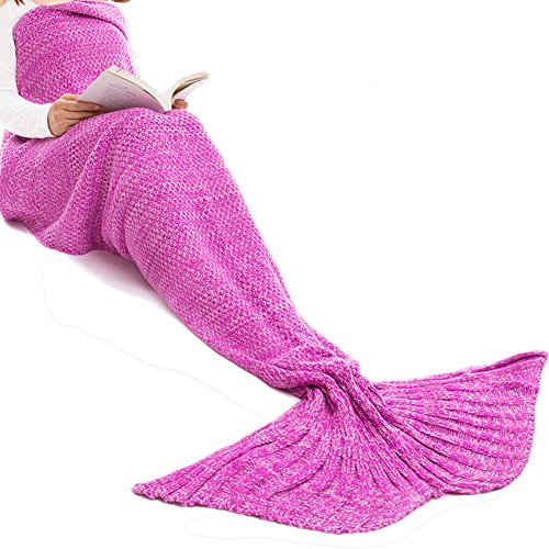 Mermaid Tail Blanket for Kids and Adult,Hand Crochet Snuggle Mermaid,All Seasons Seatail Sleeping Bag Blanket by Jr.White (Ocean Blue)