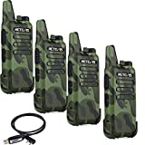 Retevis RT22 Walkie Talkies Scan VOX Emergency Alarm Outdoor Two Way Radio(Army Green, 4 Pack) and Programming Cable