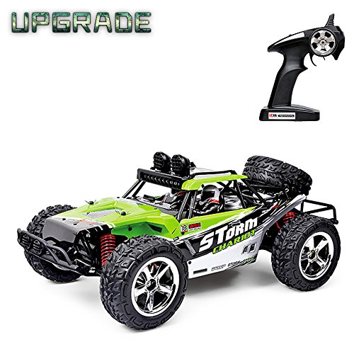 Vatos RC Car Off Road High Speed 4WD 40km/h 1:12 Scale 50M Remote Control 15 Mins Playing Time 2.4GHz Electric Vehicle Buggy Truck with LED Night Vision (Li Battery&USB Charger Cable Included) (Green)