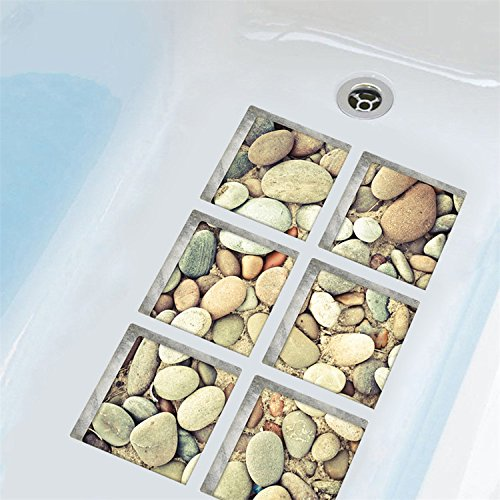 AmazingWall 3D Cobblestone Tub Stickers Safety Non Slip Shower Decals Self Adhesive 5.9x5.9 6pcs/set