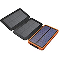 Solar Charger, X-DRAGON 10000mAh Solar Power Bank with Foldable Solar Panel Portable Rugged Shockproof Dual USB Solar Battery Charger for iPhone, Samsung Galaxy ipad and More-Orange