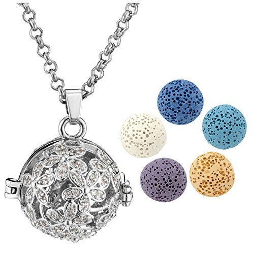 26' Long Necklace - Top Plaza Aromatherapy Essential Oil Diffuser Necklace Silver Tone Rhinestones ZirconiaHollow Locket Pendant With 5 Dyed 16MM Lava Rock Stone Balls(Flowers)