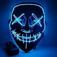 IMPORTUDO MX Mascara con LUZ LED LA Purga Halloween The Purge Colores Calidad (Azul)