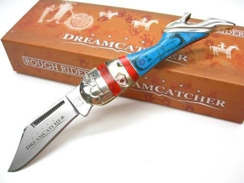 New ROUGH RIDER Blue Red DREAMCATCHER Lady Leg Straight Folding Pocket ProTactical'US - Limited Edition - Elite Knife with Sharp Blade ! OSB1523