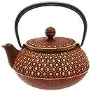 Iwachu Japanese Iron Tetsubin Teapot, Honeycomb, Gold and Burgundy