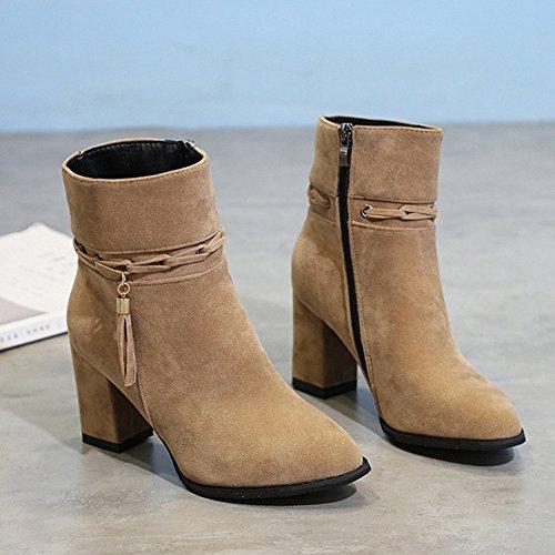 Brown Snow Type Brown Boot Mid Side Zipper Black Christmas BERTERI Grey Winter Heel Women's wXz4WZqv