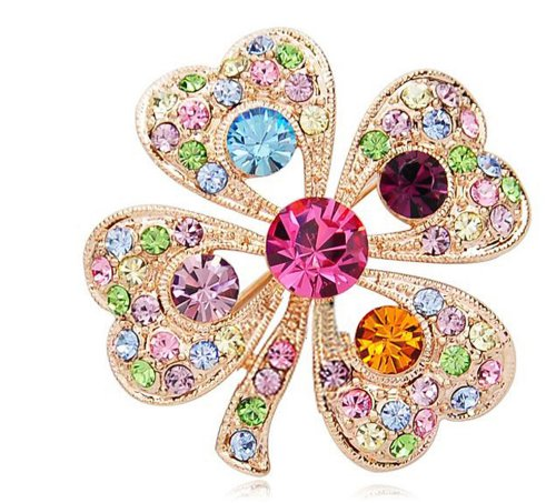 Qinlee Woman Brooches Colorful Lucky Four-leaf Clover Rhinestone Brooch Pins Clothing Accessories