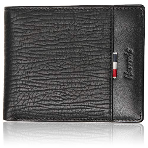 Slim Bifold Black Leather Wallets for Men, Harrm's Stylish Business Soft Wallet High-End Build Multi-card Wallet for Men