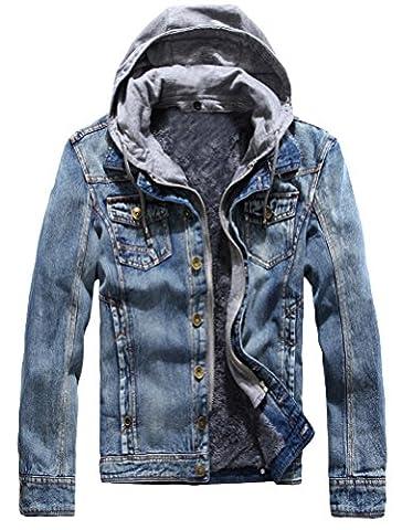 Vogstyle Men's Winter Denim Hooded Jacket Slim Fit Casual Jacket Button Down Distressed Jeans Coats Outwear Blue - Denim Coat Jacket
