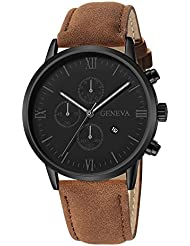 HHei_K Mens Luxury Fashion Date Sport Analog Quartz Wrist Watch - Leather Band - Waterproof -