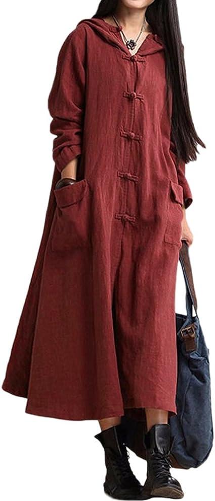 TALLA XXL. Romacci Primavera Otoño Mujer Vintage Vestido con Capucha de Manga Larga Casual Suelta Algodón Sólido Vestido de Borgoña Azul Oscuro Negro Borgoña XXL